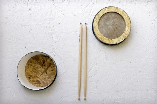 SHADOW HILLS, CA - DECEMBER 19, 2012 - Drum sticks and portholes designed to be use as drums in The Music Cabin, which is part of The Cabin Project at Shadow Hills Riding Club, December 19, 2012. The project has been in process for a year and a half and was designed and built by Woodbury University architecture students for the Shadow Hills Riding Club, a program for Equine Assisted Therapies. Students were given ready-made sheds from Lowe's and asked to make a sleeping cabin for two. (Photo by Ricardo DeAratanha).